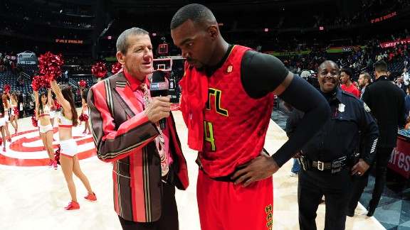 """Sager interviews Paul Millsap of the Atlanta Hawks after a win over the Boston Celtics in November 2015. He announced in March 2016 that his cancer, once in remission, had returned. """"The typical prognosis is 3-6 months to live, but I would like to stress that is for a patient who is not receiving treatment,"""" he said in a statement provided by Turner. """"Fortunately, I am receiving the best treatment in the world, and I remain fully confident I will win this battle."""""""