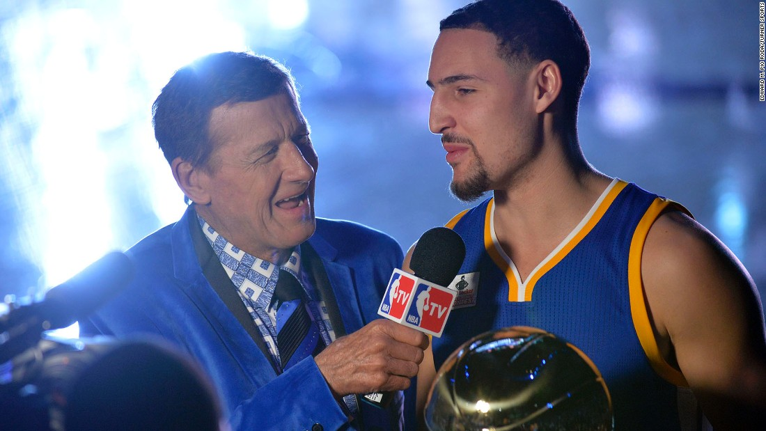 Sager interviews Golden State's Klay Thompson before the 2016 NBA All-Star Game. Sager was a sports anchor at CNN in the early days of the network.