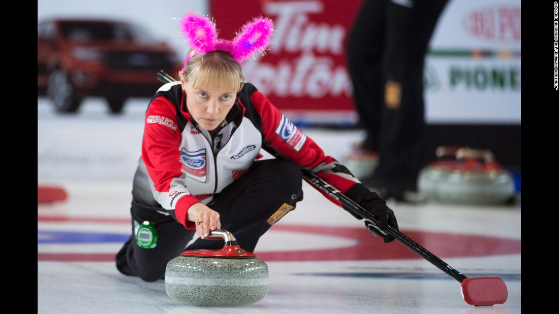 Canada's Amy Nixon wears a pair of bunny ears on Easter Sunday, March 27, before playing a game at the World Curling Championship in Swift Current, Saskatchewan.