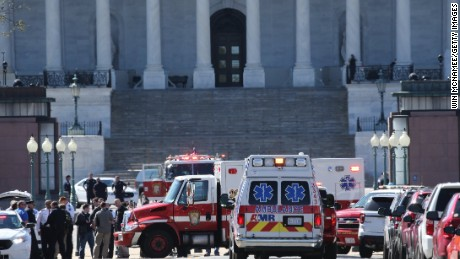 Emergency personnel respond during a lock down after shots were reportedly fired at the U.S. Capitol Visitor Center March 28, 2016 in Washington, DC.