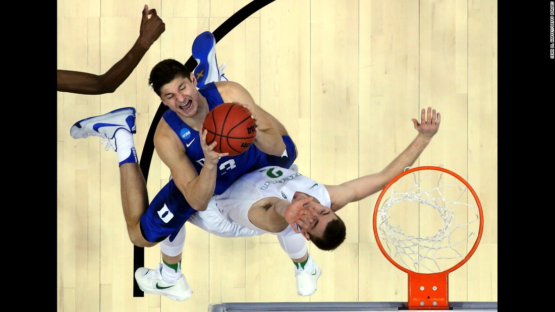 Duke's Grayson Allen goes up for a shot against Oregon's Casey Benson during an NCAA Tournament game on Thursday, March 24. Oregon won 82-68 to advance to the Elite Eight.