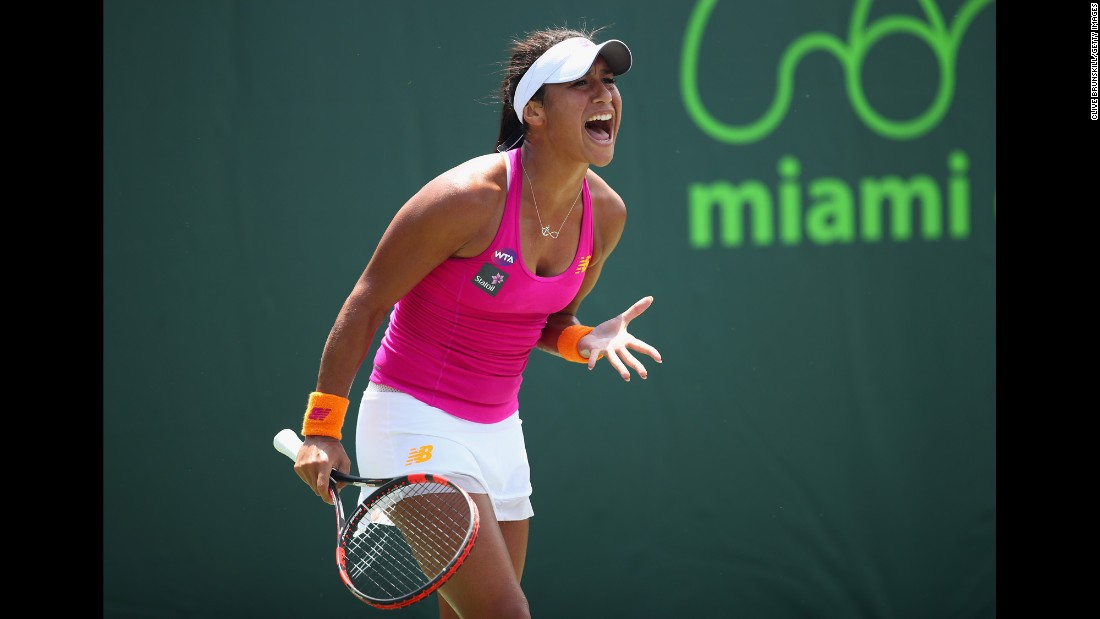 Heather Watson shouts during a third-round match at the Miami Open on Saturday, March 26. Watson defeated Yanina Wickmayer in three sets.