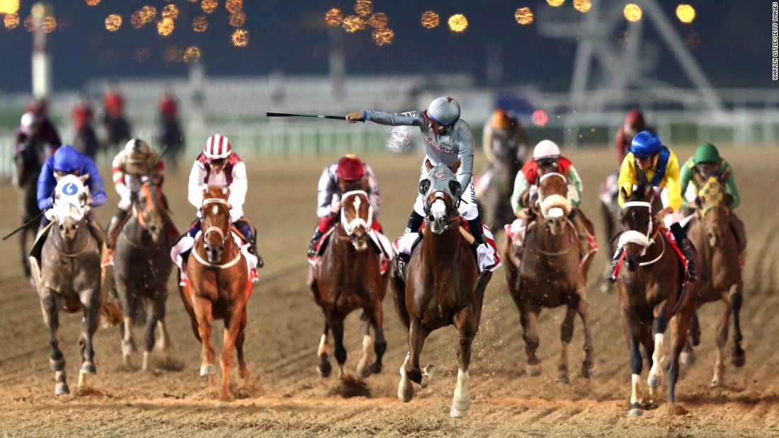 "Victor Espinoza <a href=""http://www.cnn.com/2016/03/26/sport/horse-racing-dubai-world-cup/"" target=""_blank"">rides California Chrome to victory</a> in the Dubai World Cup, the world's richest horse race, on Saturday, March 26."