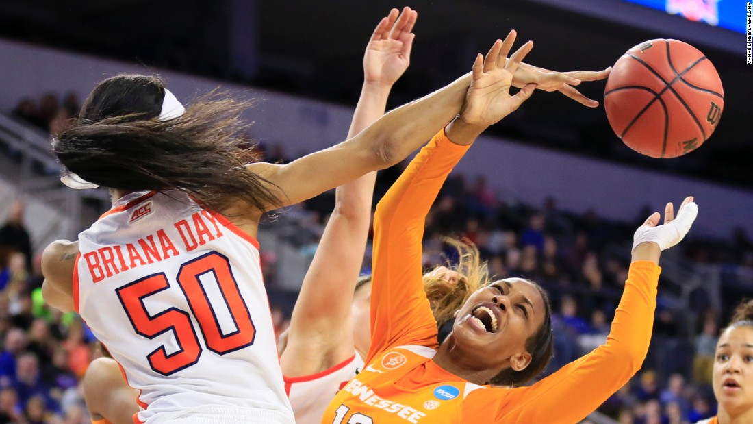 Tennessee forward Bashaara Graves is fouled by Syracuse's Briana Day during an NCAA Tournament game on Sunday, March 27. Syracuse won 89-67 to advance to the Final Four.