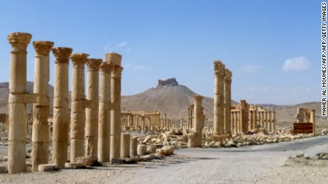 "A general view taken on March 27, 2016 shows part of the ancient city of Palmyra, after government troops recaptured the UNESCO world heritage site from the Islamic State (IS) group.                President Bashar al-Assad hailed the victory as an ""important achievement"" as his Russian counterpart and key backer Vladimir Putin congratulated Damascus for retaking the UNESCO world heritage site. / AFP / Maher AL MOUNES        (Photo credit should read MAHER AL MOUNES/AFP/Getty Images)"