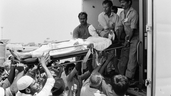 Twenty people were killed when Pan Am Flight 73 was hijacked on September 5, 1986, at Karachi airport in Pakistan by four armed men of the Abu Nidal Organization. In this photo injured victims are evacuated to a U.S. military hospital in Germany on September 6, 1986, after a 16-hour siege. One hijacker is still wanted by the FBI.