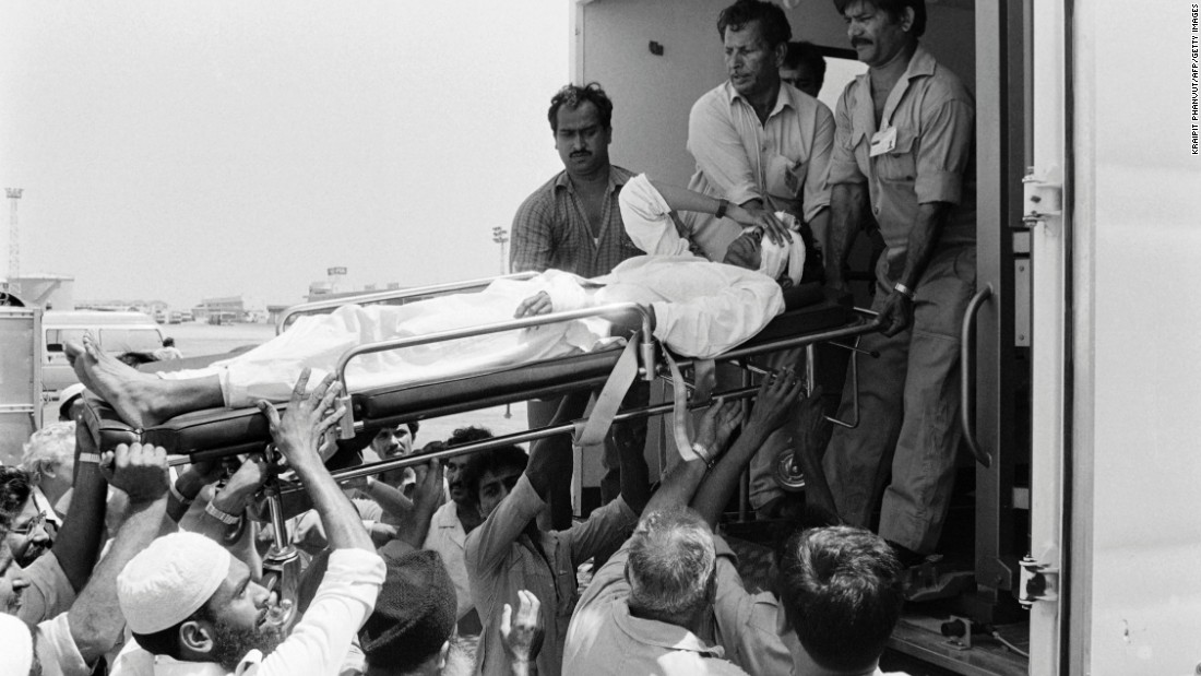 "Twenty people were killed when Pan Am Flight 73 was hijacked on September 5, 1986, at Karachi airport in Pakistan by four armed men of the Abu Nidal Organization. In this photo injured victims are evacuated to a U.S. military hospital in Germany on September 6, 1986, after a 16-hour siege. One hijacker is <a href=""https://www.fbi.gov/wanted/wanted_terrorists/jamal-saeed-abdul-rahim/view"" target=""_blank"">still wanted by the FBI.  </a>"