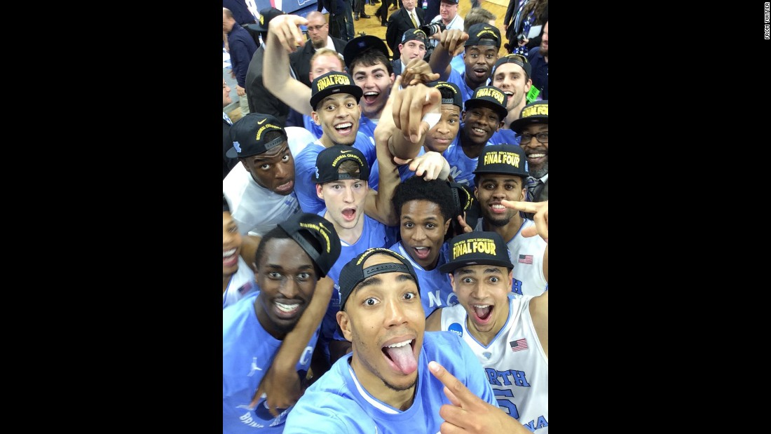 "North Carolina basketball players <a href=""https://twitter.com/UNC_Basketball/status/714285758492880896"" target=""_blank"">take a selfie</a> Sunday, March 27, after clinching a spot in the Final Four of the NCAA Tournament."