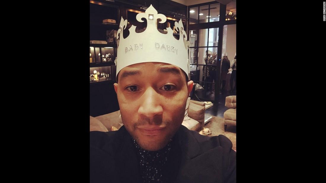 "Singer John Legend wears a ""Baby Daddy"" crown <a href=""https://www.instagram.com/p/BCoCTL5kSq-/"" target=""_blank"">at a baby shower</a> on Sunday, March 6. His wife, model Chrissy Teigen, is pregnant. <a href=""http://www.cnn.com/2013/02/13/showbiz/gallery/pregnant-celebrities-2013/index.html"" target=""_blank"">See which celebrities are expecting</a>"