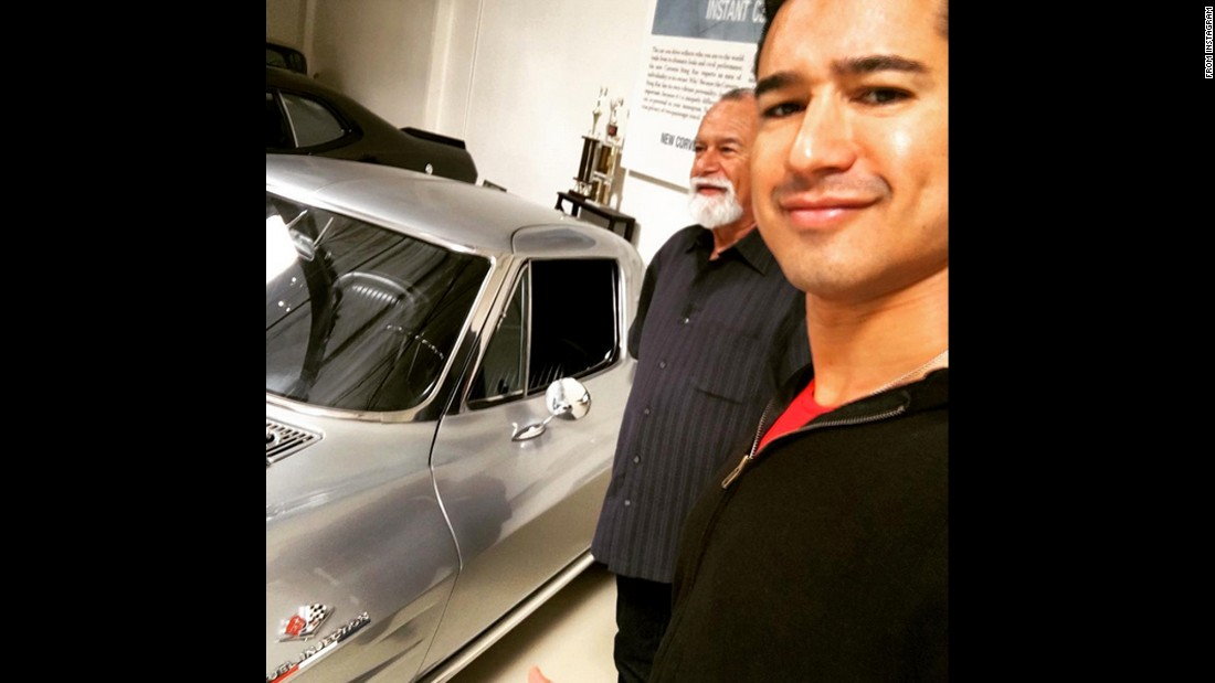"Television host Mario Lopez and his father visit ""Jay Leno's Garage"" on Saturday, March 26. ""Trying to convince Jay to sell me this '63 Split-Window Corvette. No luck,"" <a href=""https://www.instagram.com/p/BDbUxZ_SMBf/"" target=""_blank"">Lopez said on Instagram.</a>"