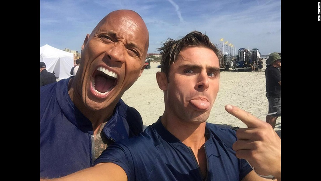 "Actor Zac Efron, right, takes a selfie with his ""Baywatch"" co-star, Dwayne Johnson, on Thursday, March 24. ""Our faces say it all @baywatchmovie is NO JOKE,"" <a href=""https://www.instagram.com/p/BDW9qsMG827/"" target=""_blank"">Efron wrote on Instagram.</a>"