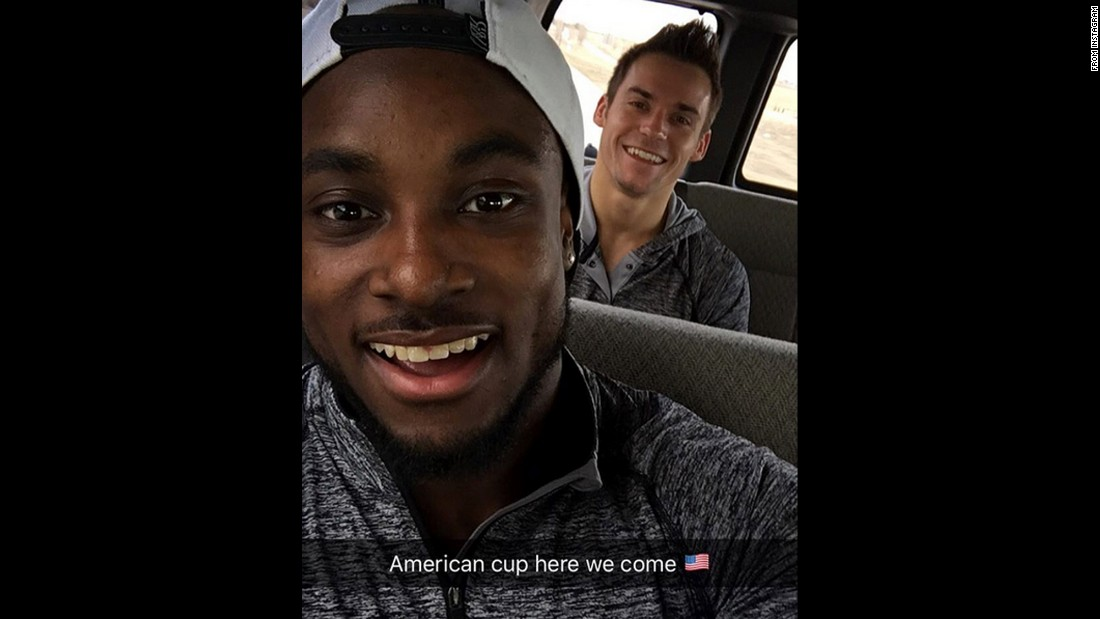 "American gymnasts Donnell Whittenburg, left, and Samuel Mikulak <a href=""https://www.instagram.com/p/BCdWfTTtTOq/"" target=""_blank"">travel to the American Cup</a> in Newark, New Jersey, on Wednesday, March 2."