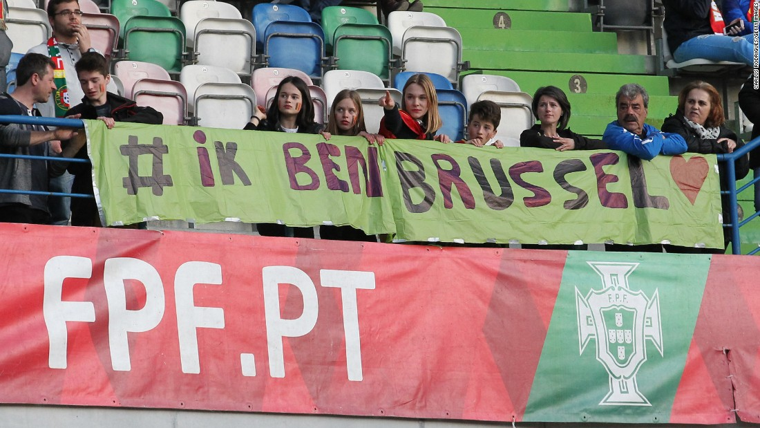 Fans in Portugal show their support for Brussels.