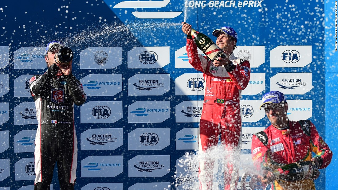 Inaugural champion Piquet Jr. (center) won his first ePrix in Long Beach in 2015. Here the Brazilian celebrates his first place finish for China Racing ahead of Andretti's Jean-Eric Vergne (left) and Abt's Lucas di Grassi (right).