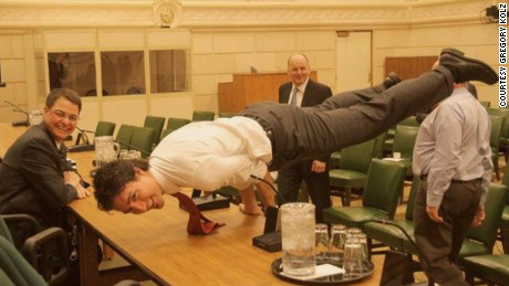Justin Trudeau shows off his mayurasana, also known as peacock pose.