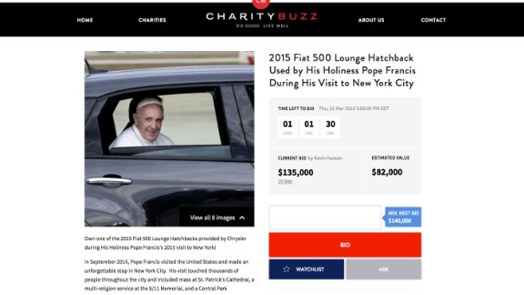 Screenshot of the website  auctioning off the Fiat.