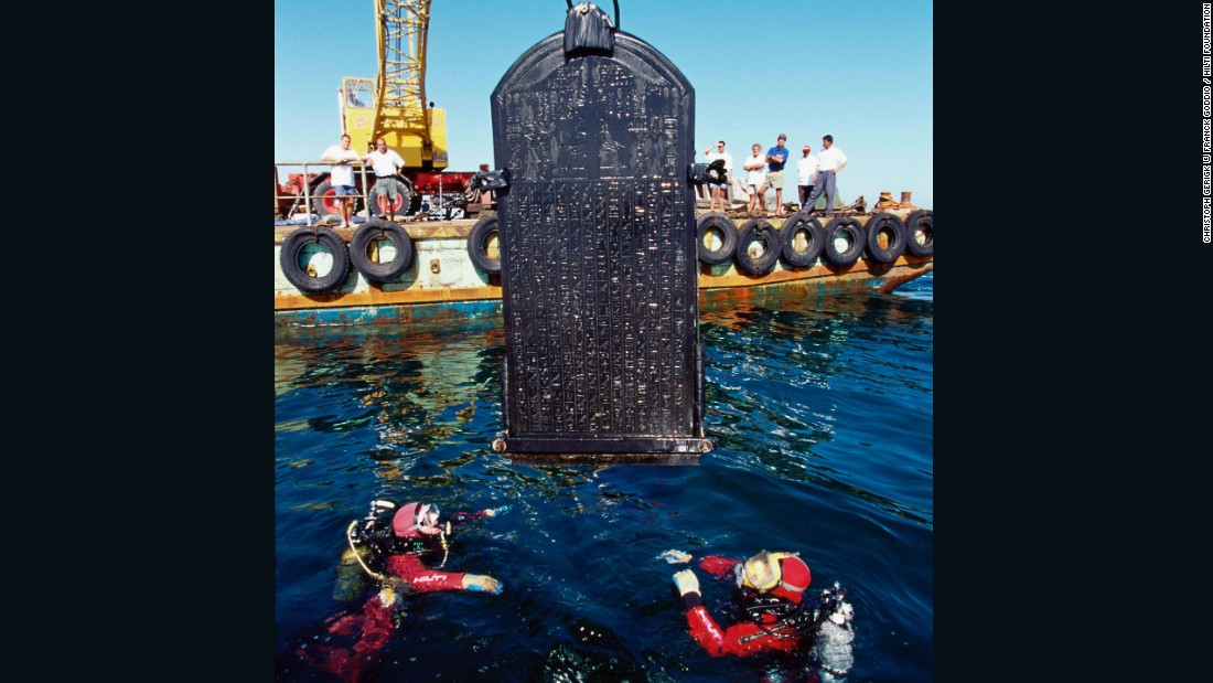 The intact stele is over six feet tall and was carefully removed by Goddio's team for preservation.