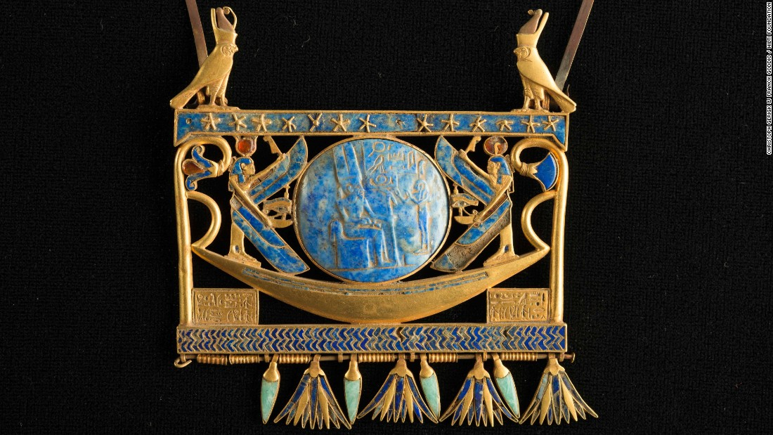Canopus and Thonis-Heracleion also yielded intricate jewelry, says Masson-Berghoff, which will be on display in London. Seen here is a pectoral in gold, lapis lazuli and glass paste, found in Tanis in the royal tomb of the Pharaoh Sheshonk II. In the center of the piece is a vessel not unlike the processional barge discovered by Goddio's team in Abukir Bay.