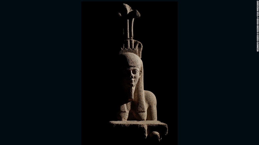 Hapy, god of the flooding of the Nile, was a symbol of abundance and fertility. The example on display dates from the Early Ptolemaic period. During that time, the Greek rulers of Canopus and Thonis- Heracleion commissioned statues of their likeness, though they also made sure to feature Egyptian affectations. The example on display dates from the 4th century BC. A century later, the Greek rulers of Egypt, the Ptolemies, added statues of their likeness next to Hapy colossus and made sure to feature Egyptian affectations<br />