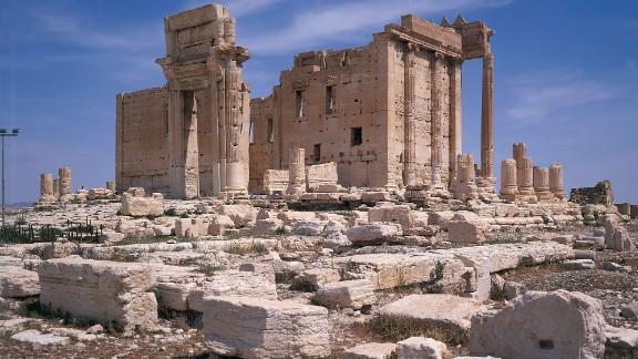 Before: The ruins of the 2,000-year-old Temple of Baalshamin are seen in Palmyra, Syria, in 2007. The ISIS militant group took over the ancient city last year and razed parts of its World Heritage Site. Syrian government forces recaptured the ancient city from the terror group in March 2016. Click through to see the landmarks before and after ISIS