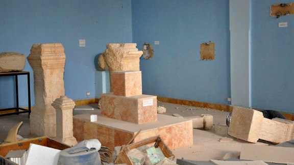 Before ISIS invaded, authorities took what they could from the museum. But larger items and those fixed to walls had to be left behind.
