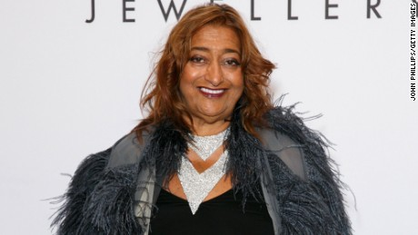 LONDON, ENGLAND - SEPTEMBER 18:  Zaha Hadid attends De Beer's Moments in Light at Claridge's Hotel on September 18, 2015 in London, England.  (Photo by John Phillips/Getty Images)