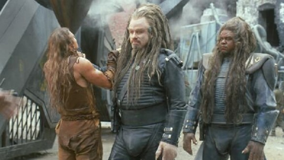 """John Travolta wore dreadlocks for his role as Terl in the film """"Battlefield Earth."""" Terl is a member of the Psychlo species of humanoid aliens that takes over Earth."""