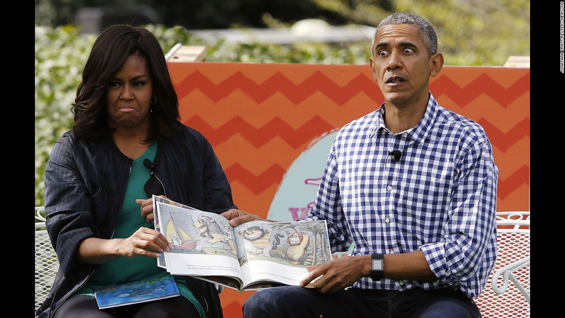 "U.S. President Barack Obama and his wife, Michelle, read a book to children at the annual <a href=""http://www.cnn.com/2016/03/28/politics/obama-easter-egg-roll/"" target=""_blank"">White House Easter Egg Roll</a> on Monday, March 28."