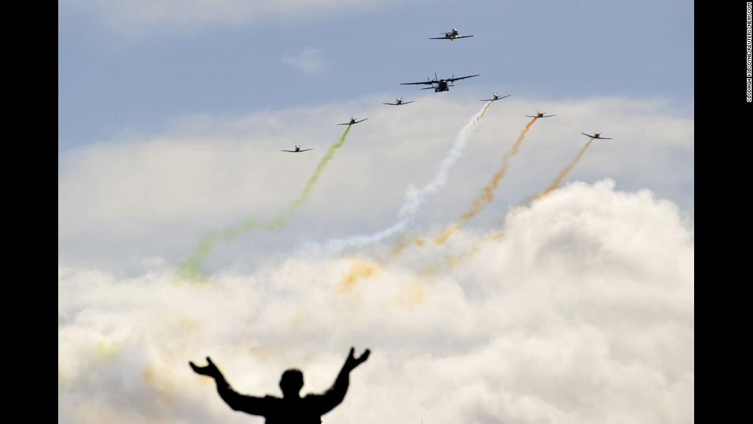 A military flyby in Dublin, Ireland, commemorates the 100th anniversary of the country's Easter Rising rebellion on Sunday, March 27.