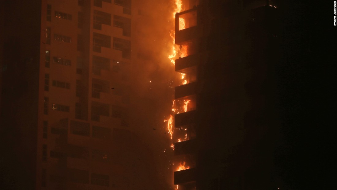 "Fire engulfs a high-rise residential building in Ajman, United Arab Emirates, on Tuesday, March 29. <a href=""http://www.cnn.com/2016/03/28/middleeast/uae-ajman-tower-blaze/index.html"" target=""_blank"">The blaze was extinguished</a> and no major casualties were reported."