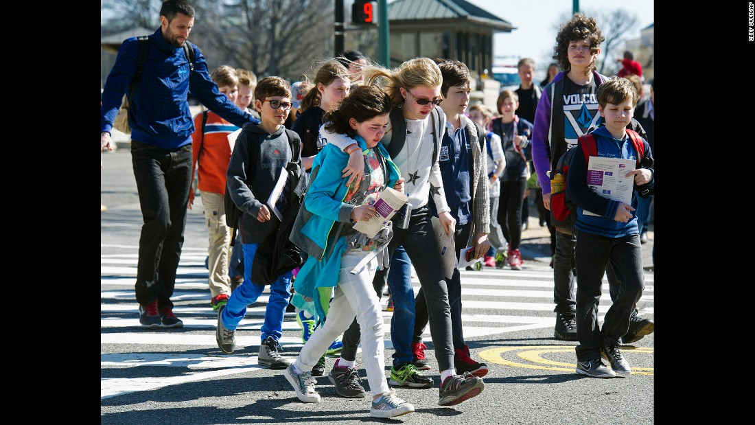 "Children are escorted away from the U.S. Capitol after reports of gunfire on Monday, March 28. <a href=""http://www.cnn.com/2016/03/28/politics/u-s-capitol-and-white-house-on-lockdown/"" target=""_blank"">A man was shot by Capitol Police</a> after he pulled out what appeared to be a weapon at the Capitol Visitor Center, law enforcement officials said."