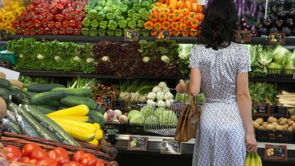 Woman holding bananas in produce aisle of supermarket, rear view
