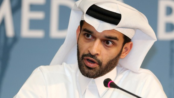 Hassan al-Thawadi, head of the Qatar 2022 World Cup organising committee, speaks during a press conference to defend the controversial proposal of the FIFA, the football