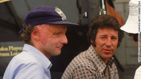 Niki Lauda (left) suffered terrible injuries at 1976 German GP but returned to action weeks later at Monza, Italy.