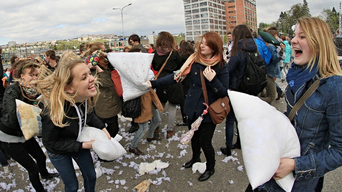 Clearly not content with being known just as the birthplace of the first Mrs. Trump, the Czech town of Zlin in 2014 staged the country's largest ever pillow fight.