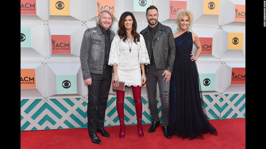 Phillip Sweet, Karen Fairchild, Jimi Westbrook and Kimberly Schlapman of Little Big Town arrive for the the 51st Academy of Country Music Awards in Las Vegas on Sunday, April 3.
