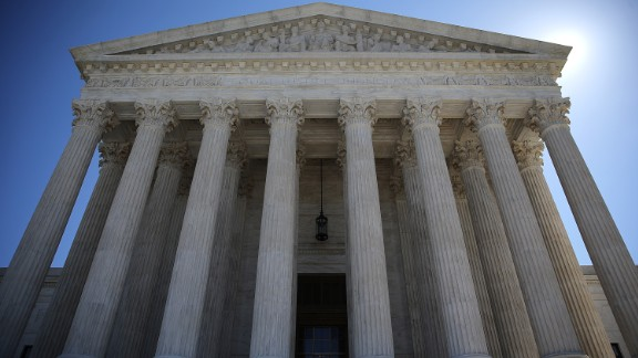 The U.S. Supreme Court is shown March 29, 2016 in Washington, DC following the first 4-4 tie in a case before the court.