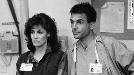 Mark Harmon as Dr. Robert 'Bobby' Caldwell and Cynthia Sikes as Dr. Annie Cavanero on the set of the 80s television show, St. Elsewhere.