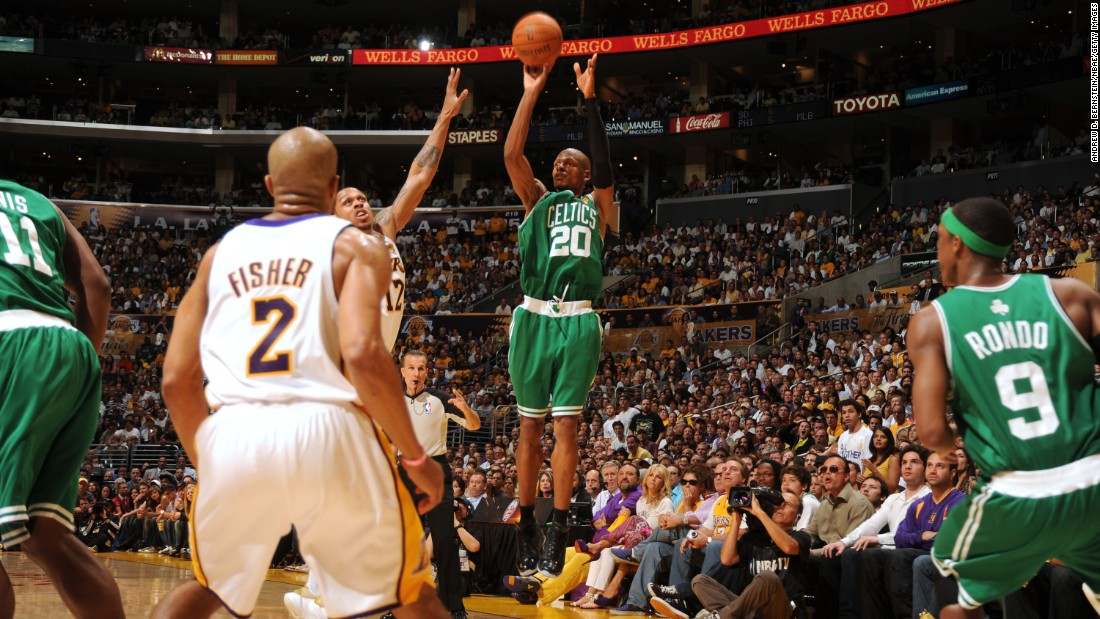 <strong>Most 3-pointers made in an NBA Finals game:</strong> Boston's Ray Allen hit eight 3-pointers in Game 2 of the 2010 NBA Finals. Allen had 32 points in the winning effort, but the Lakers would eventually win the series in seven games. Allen is the league's career leader in 3-pointers made.