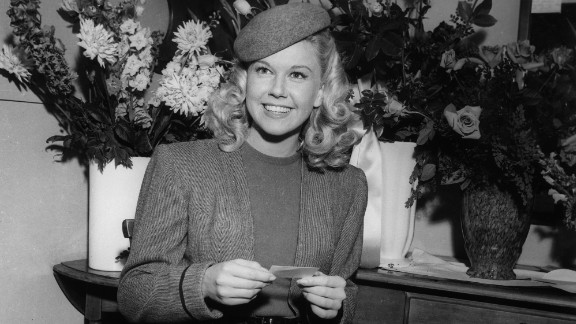 """Doris Day in her dressing room on the set of """"Romance on the High Seas"""" in 1947."""