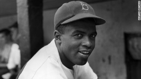 Jackie Robinson as a Brooklyn Dodger.