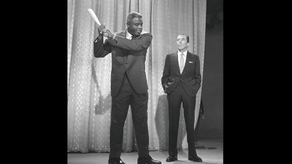 Robinson retired after the 1956 season and became active in other pursuits. He became an executive for the Chock Full o'Nuts coffee company, spoke out on civil rights -- and occasionally popped up on television, as with this appearance with Ed Sullivan in 1962.