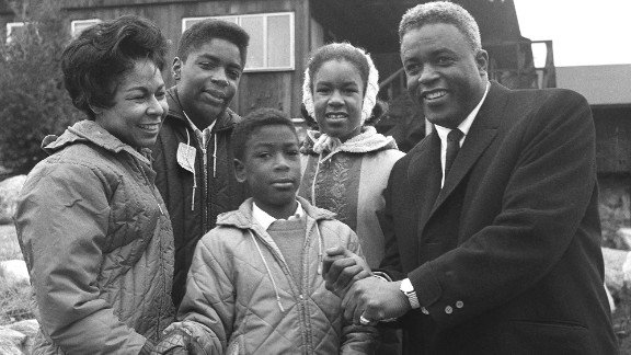 Robinson and his wife, Rachel, pose with their three children -- Jackie Jr., David and Sharon -- at their home in Stamford, Connecticut, in 1962.