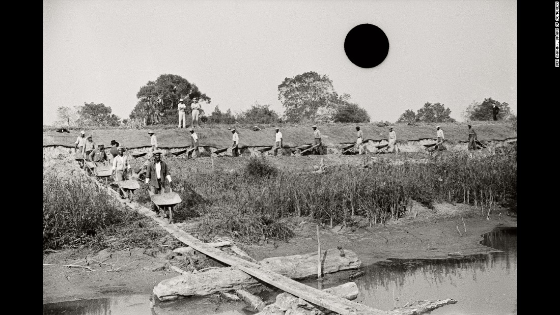 "Men work on a levee in Louisiana in 1935. ""The photographs in 'Ground' speak to our contest with different forces: nature, the government, the dynamics between people of different classes and races,"" McDowell said in an interview with DJ Hellerman, curator and director of exhibitions at Burlington City Arts in Burlington, Vermont. ""They speak to now even as they confer meaning on the past. Damaged and bountiful land; drought, flood and exodus. Starting over. Repeating the past."""
