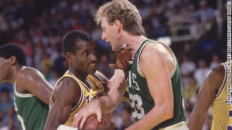 UNITED STATES - JUNE 14:  Basketball: NBA Finals, Boston Celtics Larry Bird (33) in action vs Los Angeles Lakers Michael Cooper (21), Inglewood, CA 6/2/1987--6/14/1987  (Photo by Peter Read Miller/Sports Illustrated/Getty Images)  (SetNumber: X34908 TK6 R2 F16)