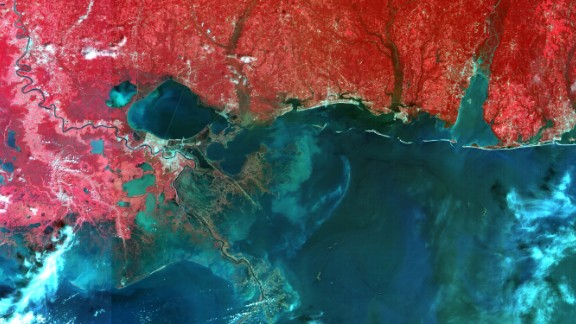 Images of New Orleans after Hurrican Katrina in 2005, taken from NigComSat-1.