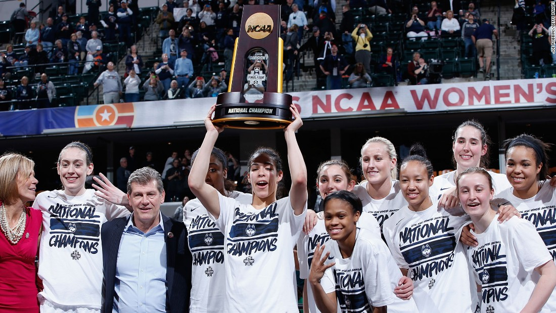 The Connecticut Huskies celebrate after their 82-51 victory over the Syracuse Orange to win the NCAA women's basketball championship on Tuesday, April 5. UConn now has 11 titles, all under head coach Geno Auriemma.