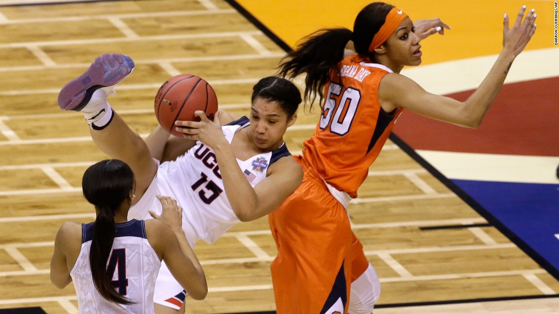 Connecticut's Gabby Williams intercepts a pass intended for Syracuse's Briana Day.