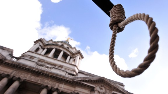 A noose is pictured during a demonstration outside the Old Bailey court in London, on February 26, 2014, ahead of the sentencing of Michael Adebolajo and Michael Adebowale for the killing of British soldier Lee Rigby in May 2013. Two Muslim extremists convicted of hacking British soldier Lee Rigby to death on a London street are due to be sentenced on Wednesday and face life in prison. AFP PHOTO / CARL COURT        (Photo credit should read CARL COURT/AFP/Getty Images)