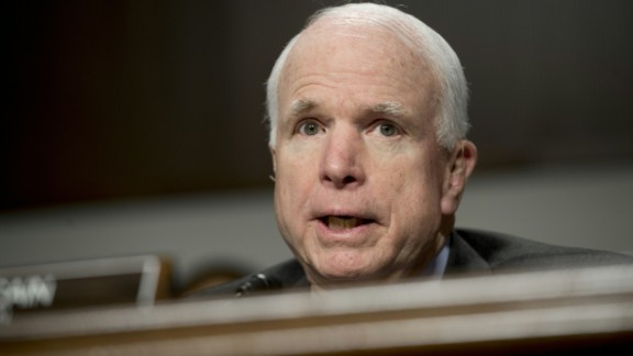 """US Senator John McCain, Republican of Arizona and chairman of the Senate Armed Services Committee, speaks during a hearing on Capitol Hill in Washington, DC, February 9, 2016. The global threat posed by the Islamic State group is still rising but US-based homegrown extremists pose the biggest danger to the homeland, Washington's top spy said February 9. In a report prepared for US lawmakers before he was due to address a Senate panel, Director of National Intelligence James Clapper said US-based extremists pose """"the most significant Sunni terrorist threat.""""  / AFP / Saul LOEB        (Photo credit should read SAUL LOEB/AFP/Getty Images)"""